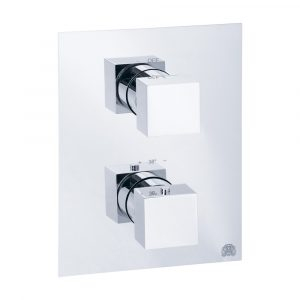 Built-in 2-way thermostatic shower mixer with diverter