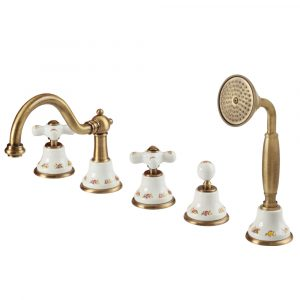 Bathtube set with pull out handshower, ceramic