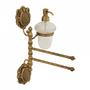 Towel holder with two swivelling arms and with dispenser