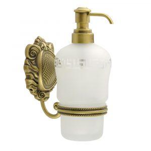 Дозатор жидкого мыла настенный, стекло матовое с декором