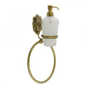 Дозатор жидкого мыла настенный с кольцом, стекло матовое с декором