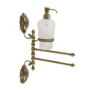 Полотенцедержатель 2-й поворотный с дозатором жидкого мыла, стекло матовое с декором