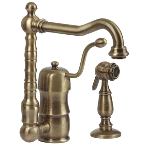 Sink mixer with movable spout and with shut-off shower Queen Nostalgia