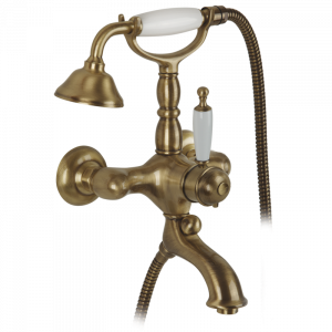 Exposed bathtube mixer with flexible 150 cm and duplex shower, thermostatic