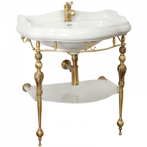 Washbasin console with shelf