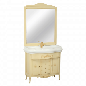 Washbasin furniture, mirror, washbasin