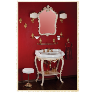Wasbasin stand, mirror, washbasin