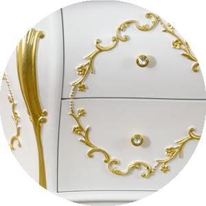 Bianco Opaco / декор Foglia Oro