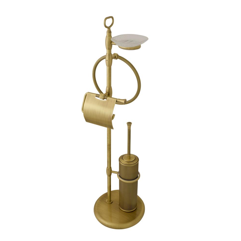 Стойка для WC и биде 4-х функциональная, H84 cm, стекло матовое с декором, Fortuna