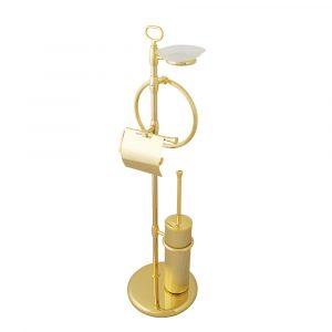 Стойка для WC и биде 4-х функциональная, Fortuna, стекло матовое с декором
