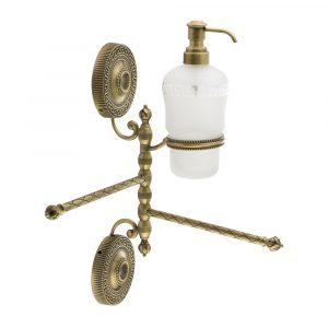 Полотенцедержатель двойной поворотный с дозатором, стекло матовое с декором
