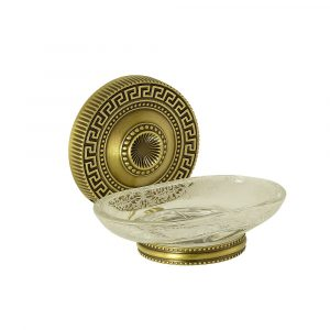 Soap dish, frosted glass with decor, Monte Carlo