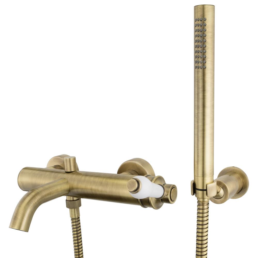 Смеситель для ванны, Ermitage Mini, ручка: белая керамика