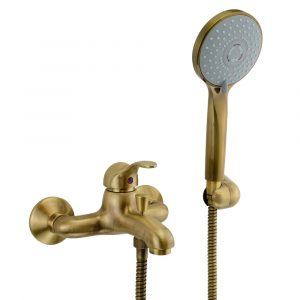 Exposed bath mixer with flexible 150 см and duplex shower, Grazia