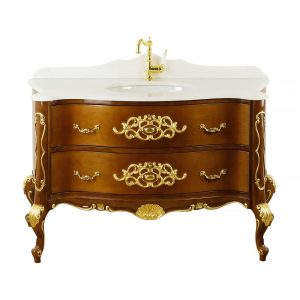 Marble top, washbasin furniture, Noce Lucido, L139 cm, Virginia
