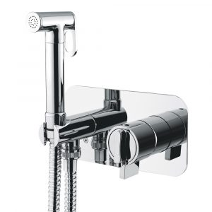 Built-in mixer with hygienic shower, thermostatic