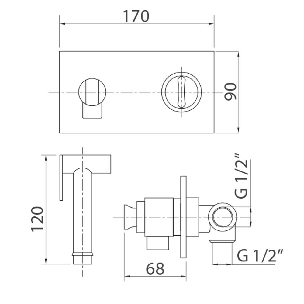 Смеситель скрытого монтажа с гигиеническим душем термостатический