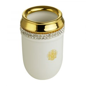 Tumbler holder, ceramic, color white, decor gold, swarovski