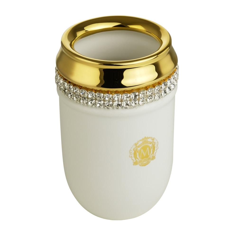 Стакан настольный, керамика, цвет белый, декор золото, swarovski