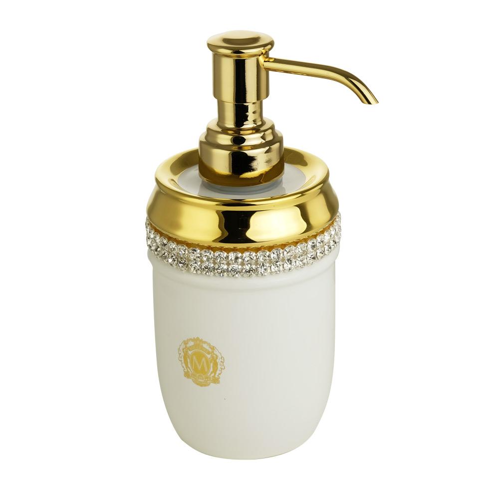 Дозатор настольный, керамика, цвет белый, декор золото, swarovski
