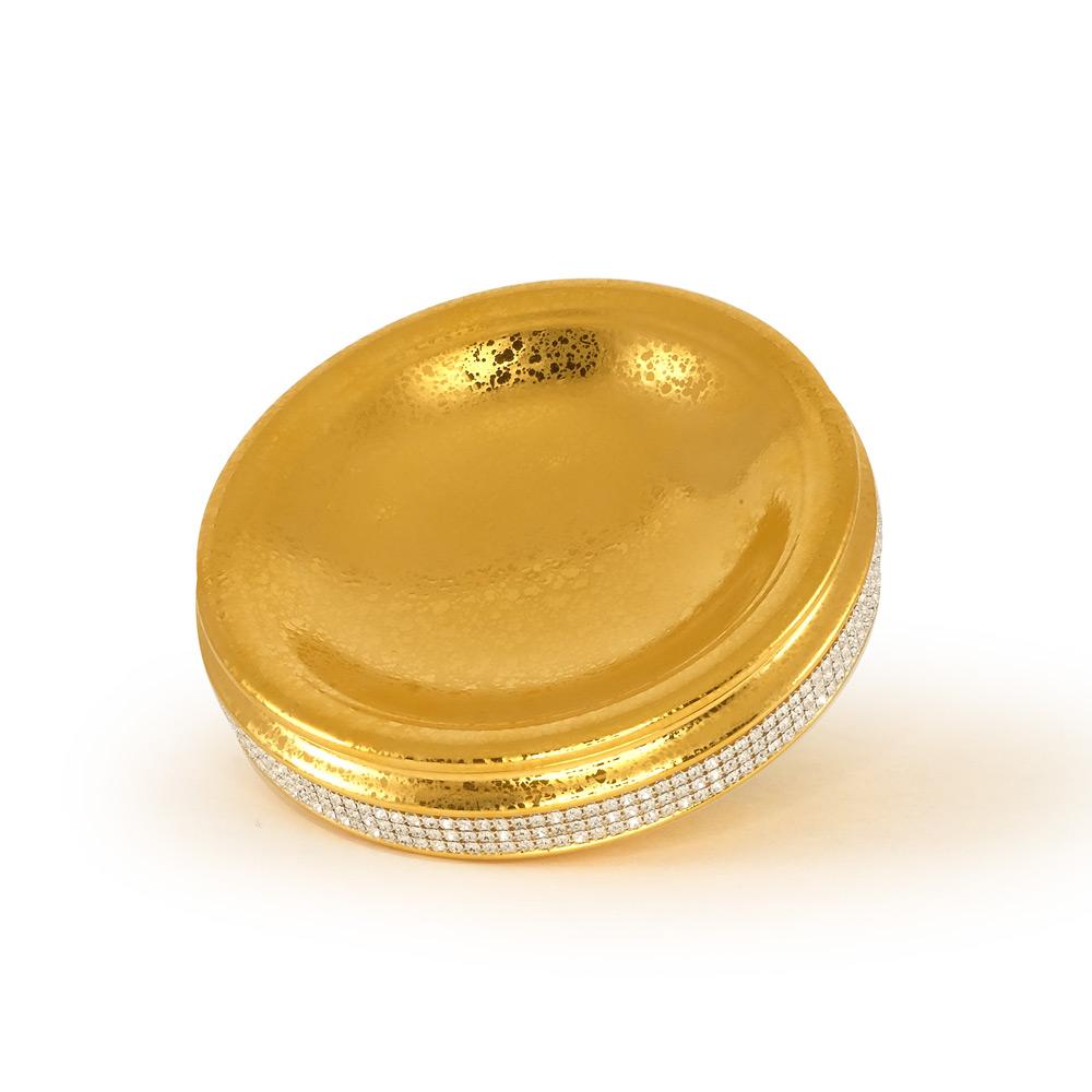 Блюдце для украшений 21хН6 см, цвет и декор золото, swarovski