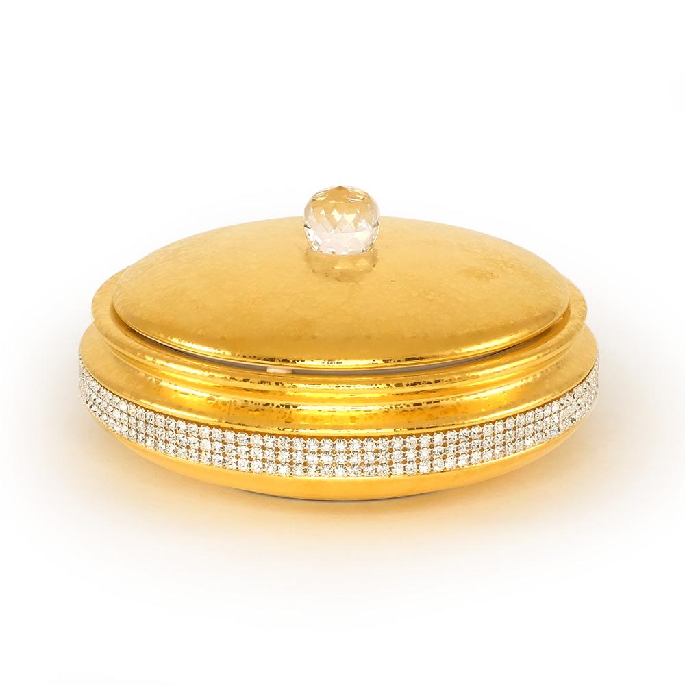 Шкатулка 21хН9 см цвет и декор золото, swarovski