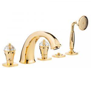 Bathtub set with pull-out hand shower, Swarovski, Korona