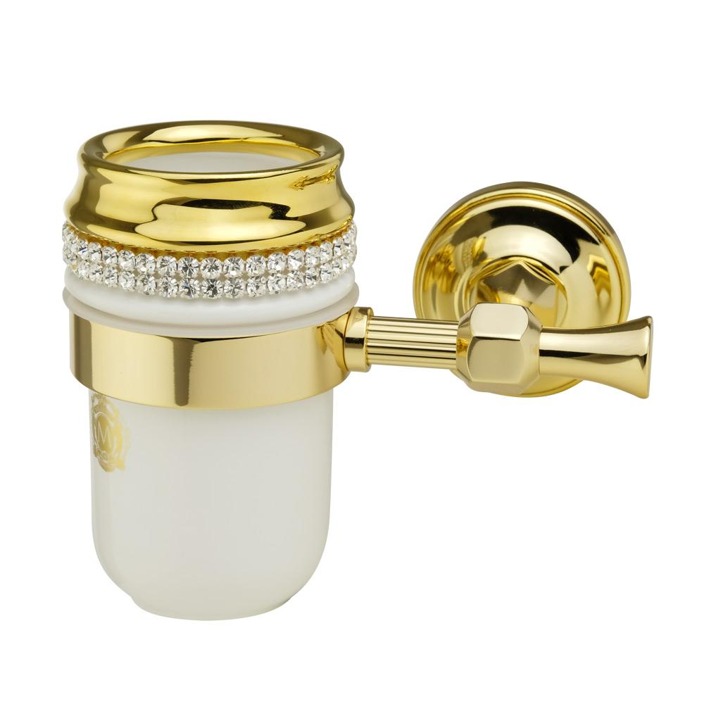 Стакан настенный, керамика, цвет белый, декор золото, swarovski Держатель Fortuna, золото