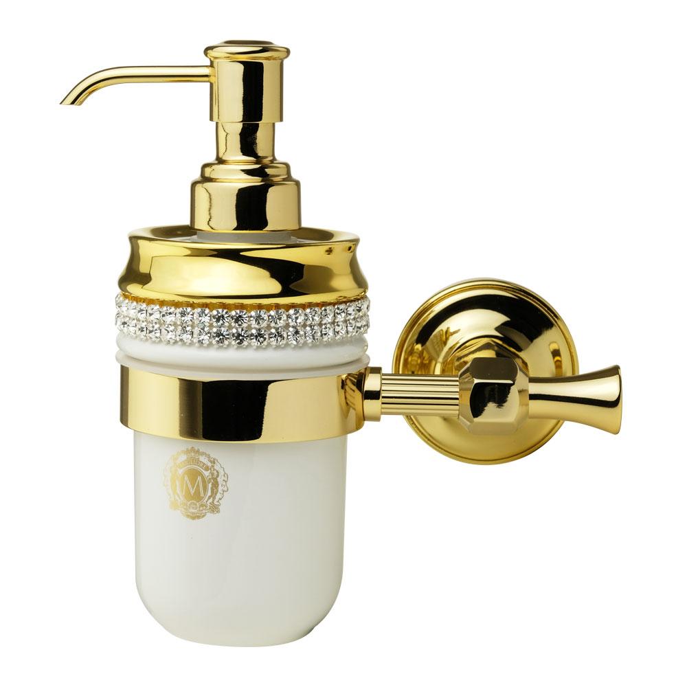 Дозатор настенный, керамика, цвет белый, декор золото, swarovski Держатель Fortuna, золото