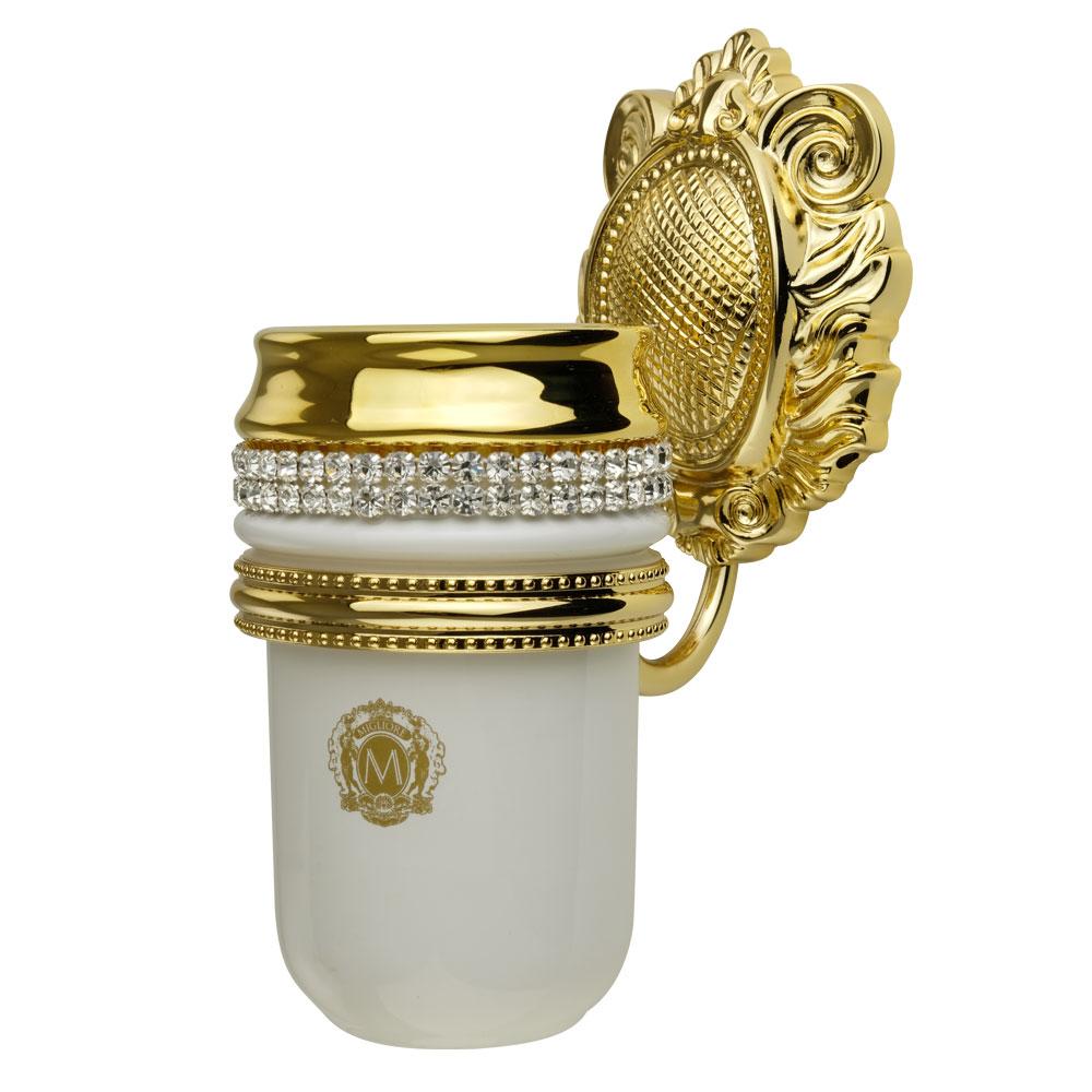 Стакан настенный, керамика, цвет белый, декор золото, swarovski Держатель Cleopatra, золото
