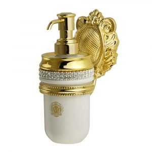 Dispenser, ceramic, color white, decor gold, swarovski, gold holder