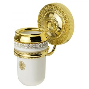 Tumbler holder, ceramic, color white, decor gold, swarovski, gold holder