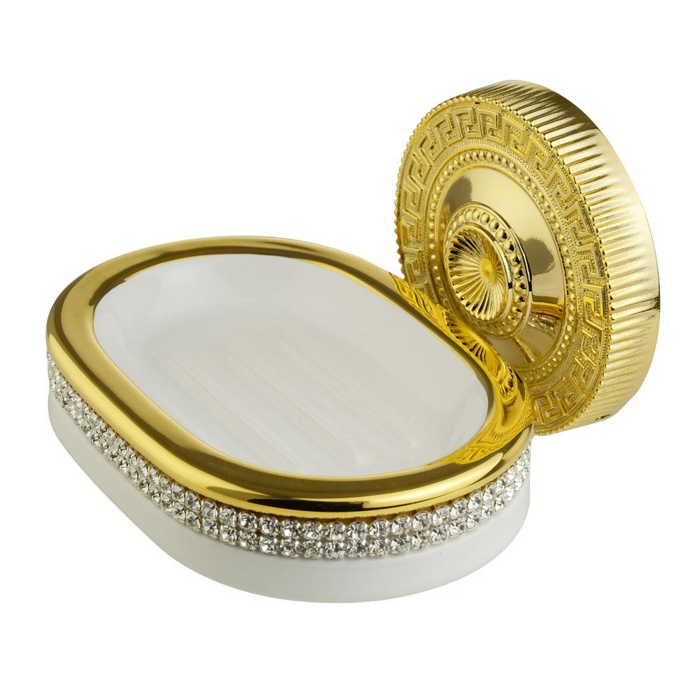 Мыльница настенная, керамика, цвет белый, декор золото, swarovski Держатель Monte Carlo, золото
