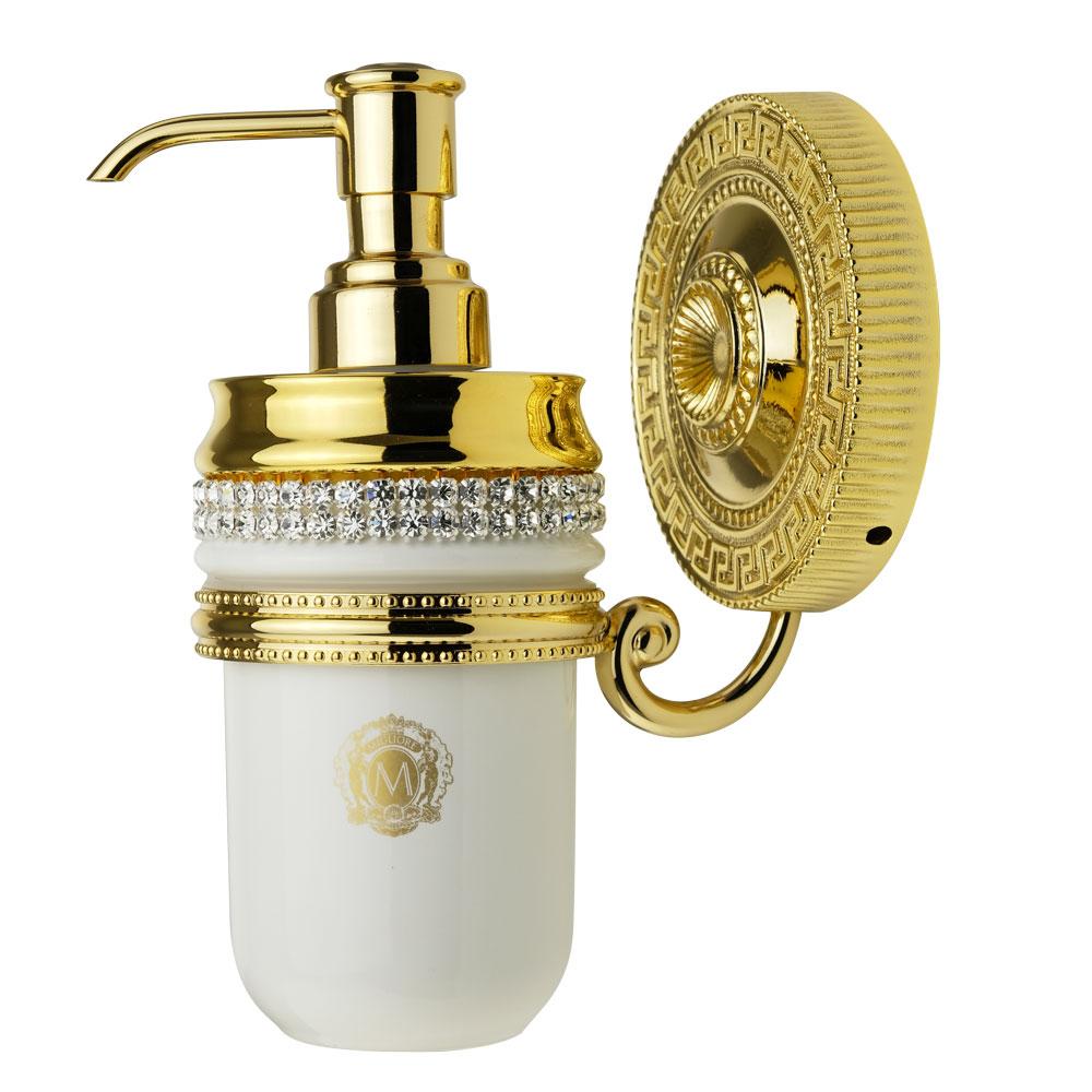 Дозатор настенный, керамика, цвет белый, декор золото, swarovski Держатель Monte Carlo, золото