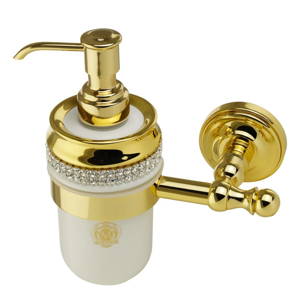 Дозатор настенный, керамика, цвет белый, декор золото, swarovski Держатель Mirella, золото Дозатор