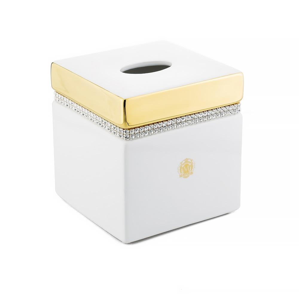Салфетница 13,5x13,5xH14,5 см, керамика, цвет белый, декор золото, swarovski