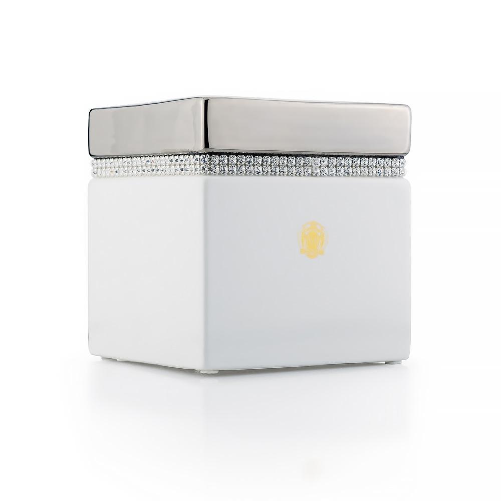 Салфетница 13,5x13,5xH14,5 см, керамика, цвет белый, декор платина, swarovski