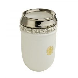 Tumbler holder, ceramic, color white, decor platinum, swarovski