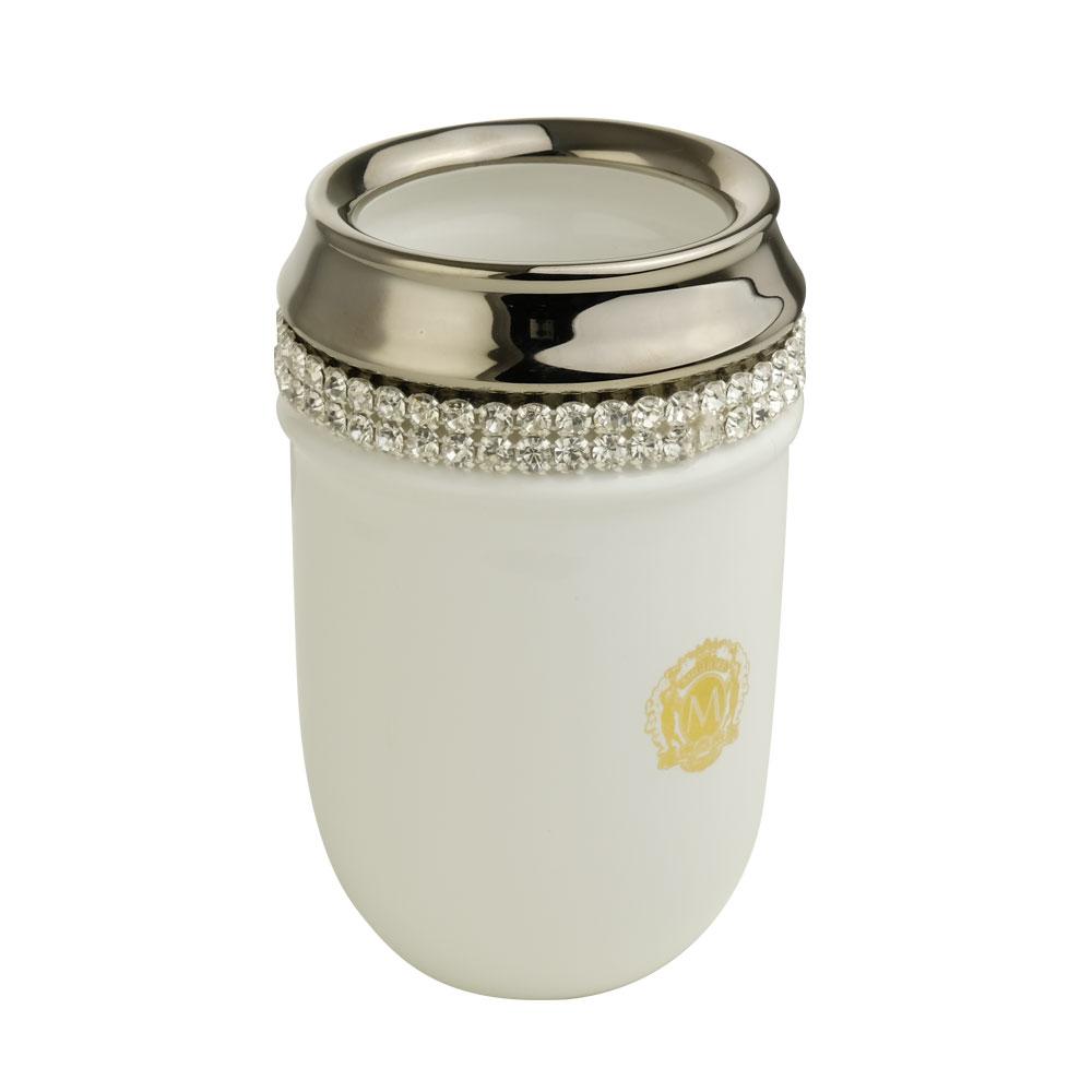 Стакан настольный, керамика, цвет белый, декор платина, swarovski