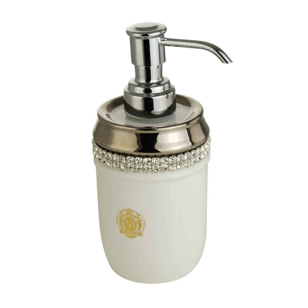 Дозатор настольный, керамика, цвет белый, декор платина, swarovski