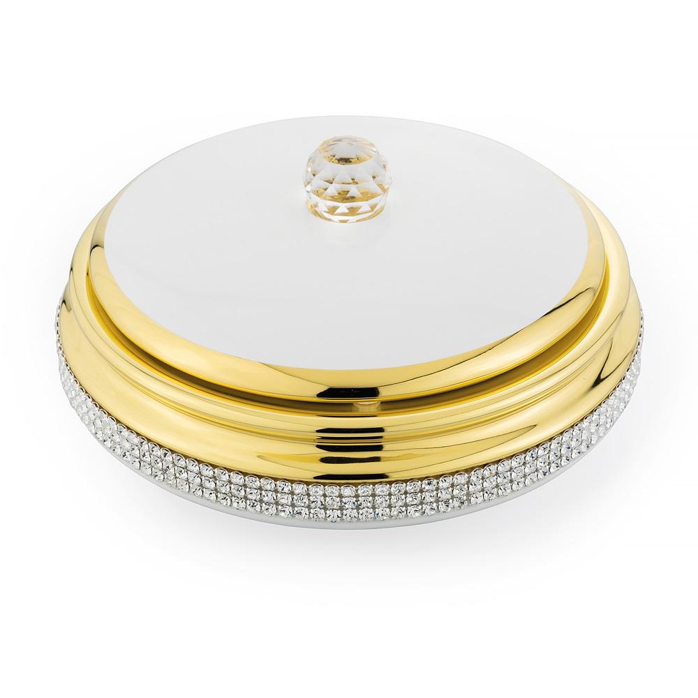 Шкатулка 21хН9 см, керамика, цвет белый, декор золото, swarovski
