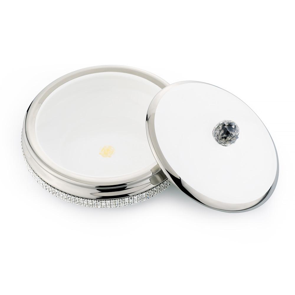 Шкатулка 21хН9 см, керамика, цвет белый, декор платина, swarovski