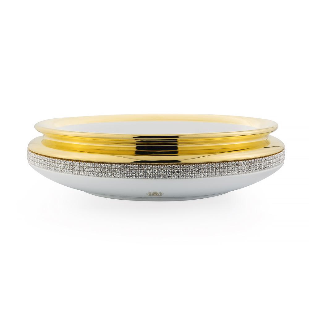 Подставка для аксессуаров D35хН9 см, керамика, цвет белый, декор золото, swarovski