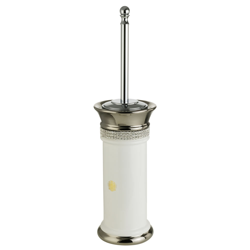 Ёршик напольный, керамика, цвет белый, декор платина, swarovski