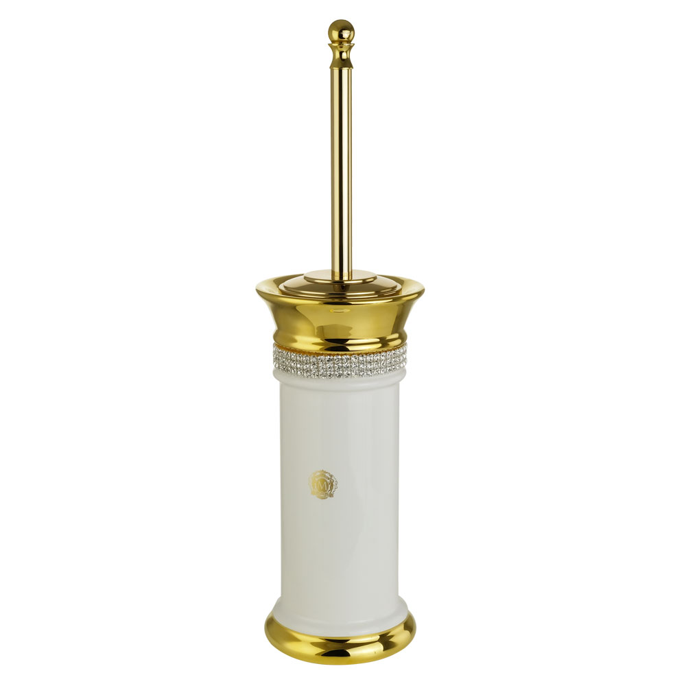 Ёршик напольный, керамика, цвет белый, декор золото, swarovski