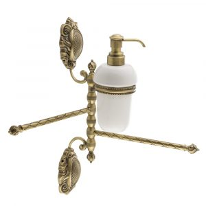 Полотенцедержатель 2-й поворотный с дозатором жидкого мыла, Керамика