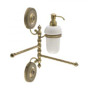 Полотенцедержатель двойной поворотный с дозатором, Керамика